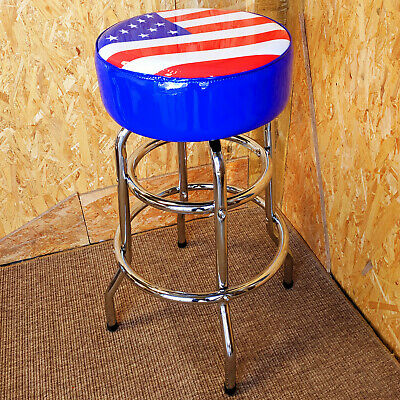 Usa Flag American Diner Bar Stool Padded Swivel Seat Chrome Metal - Retro Cafe