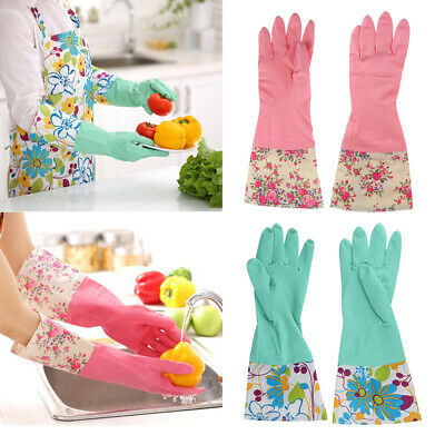 4x Strong Household Rubber Gloves Long Sleeve Floral Washing Cleaning Gloves