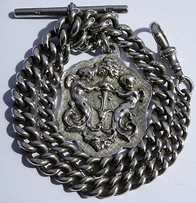 Fabulous antique heavy solid silver pocket watch albert chain & silver fob