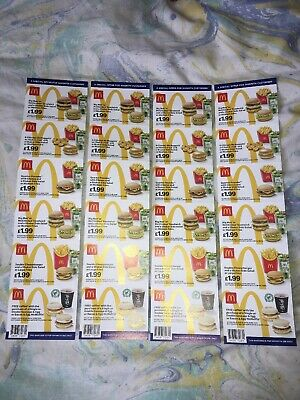 24 x MCDONALDS DEAL VOUCHERS COUPONS - VALID UNTIL 28TH JULY 2019