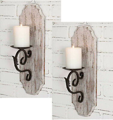 Rustic White Wood Iron Sconce Pillar Candle Holders 2pc Set FARMHOUSE DECOR New