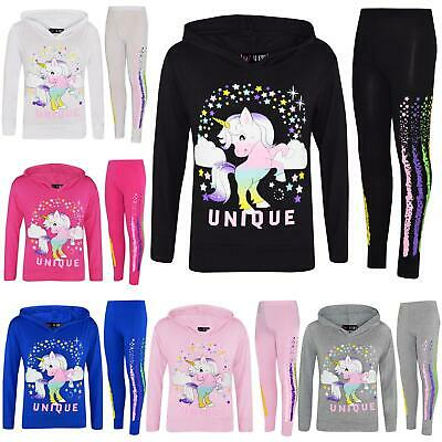 Kids Girls Top Dabbing Unicorn Floss Unique Rainbow Hooded Legging Set Tracksuit