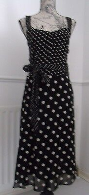 Next Black & White Polka Dot Dress Size 10 Excellent Condition