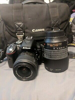 Nikon D5300 24.2MP Digital SLR Camera - Black 18-55 lens and 55-200 w/ bag