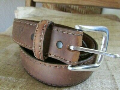 Vintage Justin 36 Distressed Brown Top Grain Leather Belt, Usa