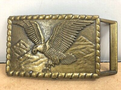 Vintage BRASS FLYING EAGLE SQUARE BELT BUCKLE