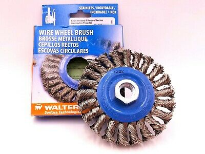 "Walter 13-L 414 Wire Wheel Brush 4""x3/8""x5/8"" Stainless Steel 20,000RPM Abrasive"