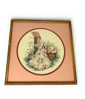 Paula Vaughan Completed Pink Ribbon Cross Stitch (Aida Leisure 114906) Framed