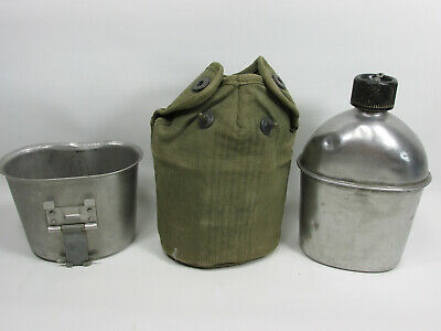 1945 WW2 Steel Canteen Cup Case Pouch Swanson US KM Co Army Military Green