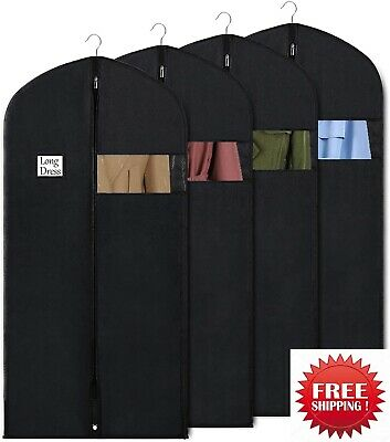 "5 Pack Hanging Garment Bag 54"" Suit Coat Storage Cover Dustproof Travel Reusable"