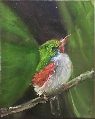 "Original oil painting, Animals,  BRIGHT HUMMING BIRD, Tody 8x10"" Schelp"