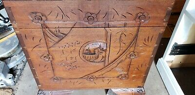 3 Antique Oriental Trunk Chest camphor wood,  carving