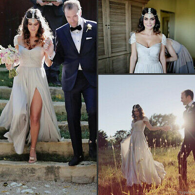 High Split Beach Wedding Dresses Beaded Cap Sleeve Chiffon Boho Bridal Gowns