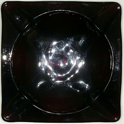 "Vintage royal ruby /blood red 4.5"" square glass ashtray"