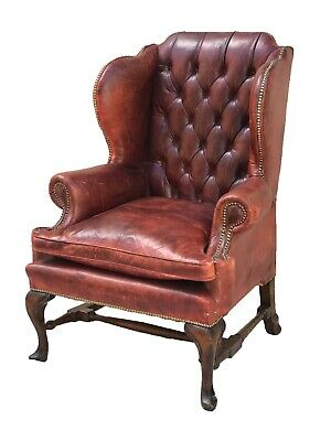 Early 20Th C Antique Style Ox Blood Red Tufted Leather Library Arm Chair