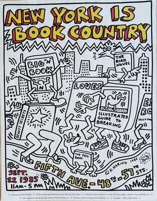 Keith Haring New York is Book Country Hand signed offset lithograph poster