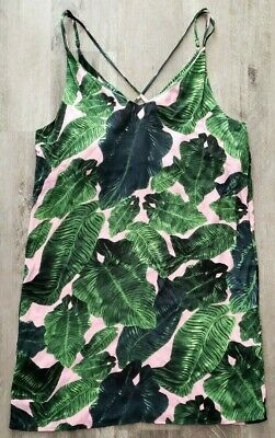 81cfb0548c66 Top Shop Dress Size 10 Palm Print Cross Back Slip Spaghetti Strap Tropical  Black