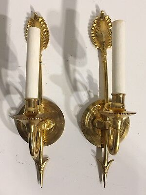 Pair Of Antique Arrow Bronze Wall Sconces