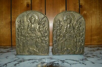 Heavy Vintage PAIR OF BRASS BOOKENDS w/ Chinese Characters & Ancestor Figures