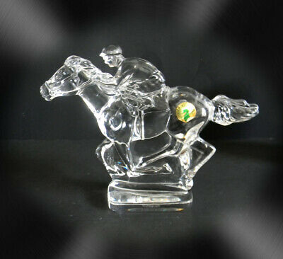 Waterford heavy cut crystal horse and jockey figurine with tag