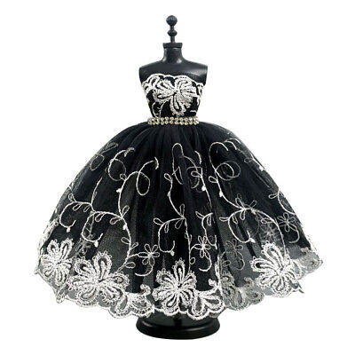 Fashion Kids Doll Clothes Black Long Sleeve Ballet Dress For 1/6 Doll Party Gown