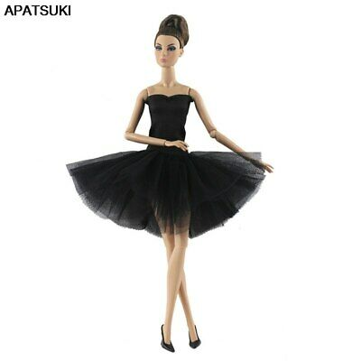 Fashion Pure Black Short Ballet Dress For 1/6 Doll Clothes Party Dress Kids Toy