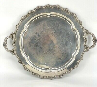 Antique Silverplate over Copper Large Round Tea Tray with Handles Buttler's Tray