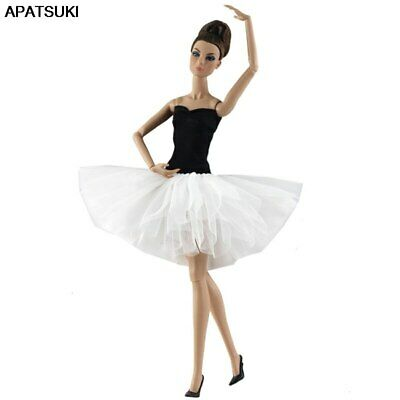 Fashion Doll Clothes White Black Short Ballet Dress For 11.5in Doll Clothes Gown