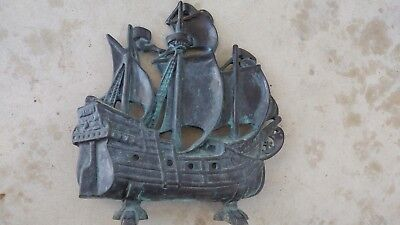 Vintage Arts and crafts mission nautical ship boat door stop bronze brass. NICE