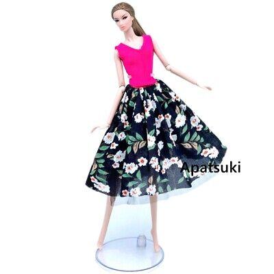 Fashion Black Countryside Floral Dress For 1/6 Doll Clothes Party Dresses Gown