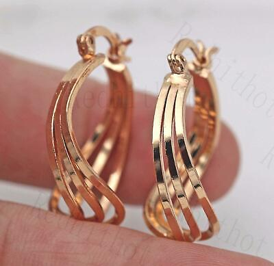 18K Gold Filled Earrings 3-Layer Round Hollow Clip-On Unique Bohemia Cocktail BR