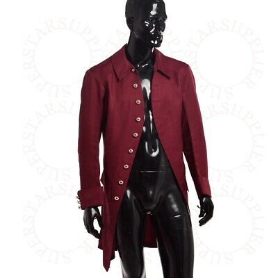 1Pc Victorian Mens Outwear Coat Military Trench Vintage Gothic Steampunk Jacket