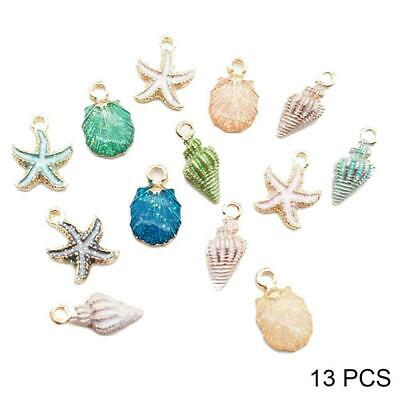 13Pcs/Set Mixed Starfish Conch Shell Metal Charms Pendant DIY Making Jewelry Fas