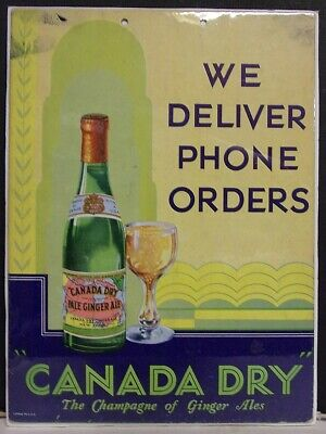 1930's Canada Dry Ginger Ale Cardboard Sign