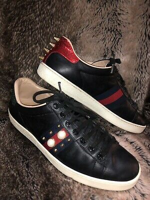 4cafbe2d7 GUCCI Ace *Rare in black* Leather Nylon Striped Studded Spiked Sneakers  39.5/9.5