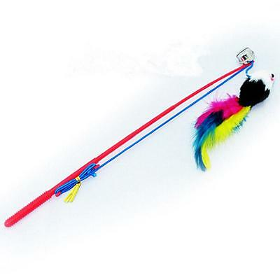 1*Bell Wand Feather Cat Teaser Play Dangle Mouse Pet Kitten Cat Toy Mice/Fur Toy