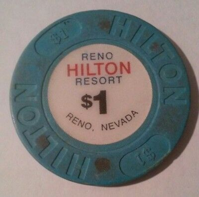 Hilton Hotel Casino Reno, Nevada $1.00 Gaming Chip Great For Any Collection!