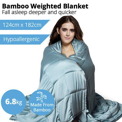 Premium Bamboo Cotton Weighted Blanket 6.8kg Heavy Gravity Kids Adult Relax Deep