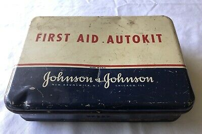 Vintage Johnson & Johnson First Aid Autokit Tin Kit With Contents