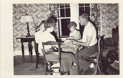 Vintage Old 1950's Photo of a Family Man Playing Game of Cards on Card Table