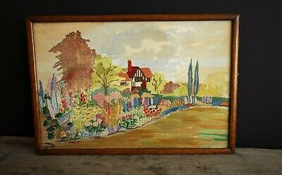 VINTAGE FLOWER EMBROIDERY 1930's 1940'S ART ENGLISH COTTAGE GARDEN PICTURE