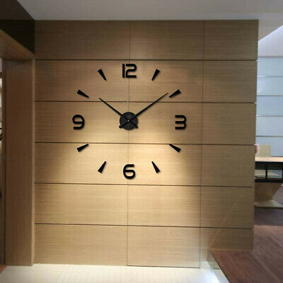 Modern 3D DIY Large Wall Clock Mirror Surface Sticker Home Art Design Decoration