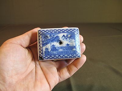 Antique Early 1900 Japanese Porcelain Blue & White Water Dropper