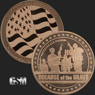 1 oz Copper Round - Home of the Free