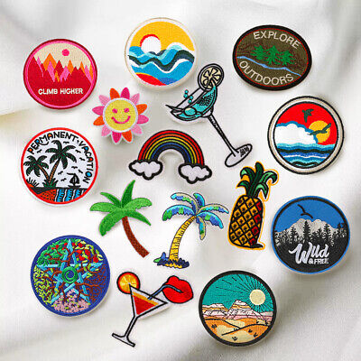 Vacation Patch Embroidered Iron On Sew On Iron On Badge Fabric Bag Craft Sticker