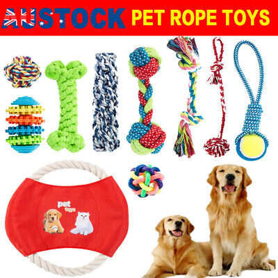 10x Dog Chew Knot Toys Teddy Pet Puppy Teeth Bear Braided Tough Strong Rope UR