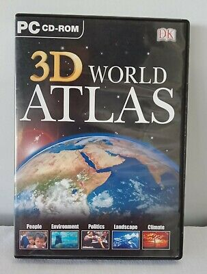 3D World Atlas PC CD Rom, Earth, Maps Satellite Windows - tested working Perfect