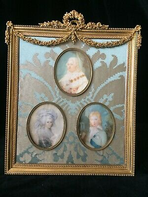 Fine Large Gilt Dore Bronze French Antique Frame with Royal Family Portraits
