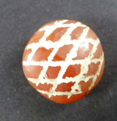 Etched Decorated Carnelian Bead From Dharamshala, Northern India