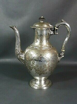 1860 English Silverplate WIlliam Howe&Co Sheffield Coffee Tea Pot Jug Pitcher